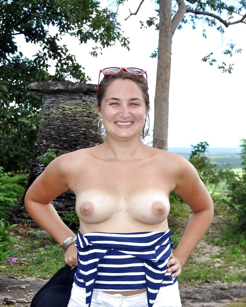 milf outdoors Big tits