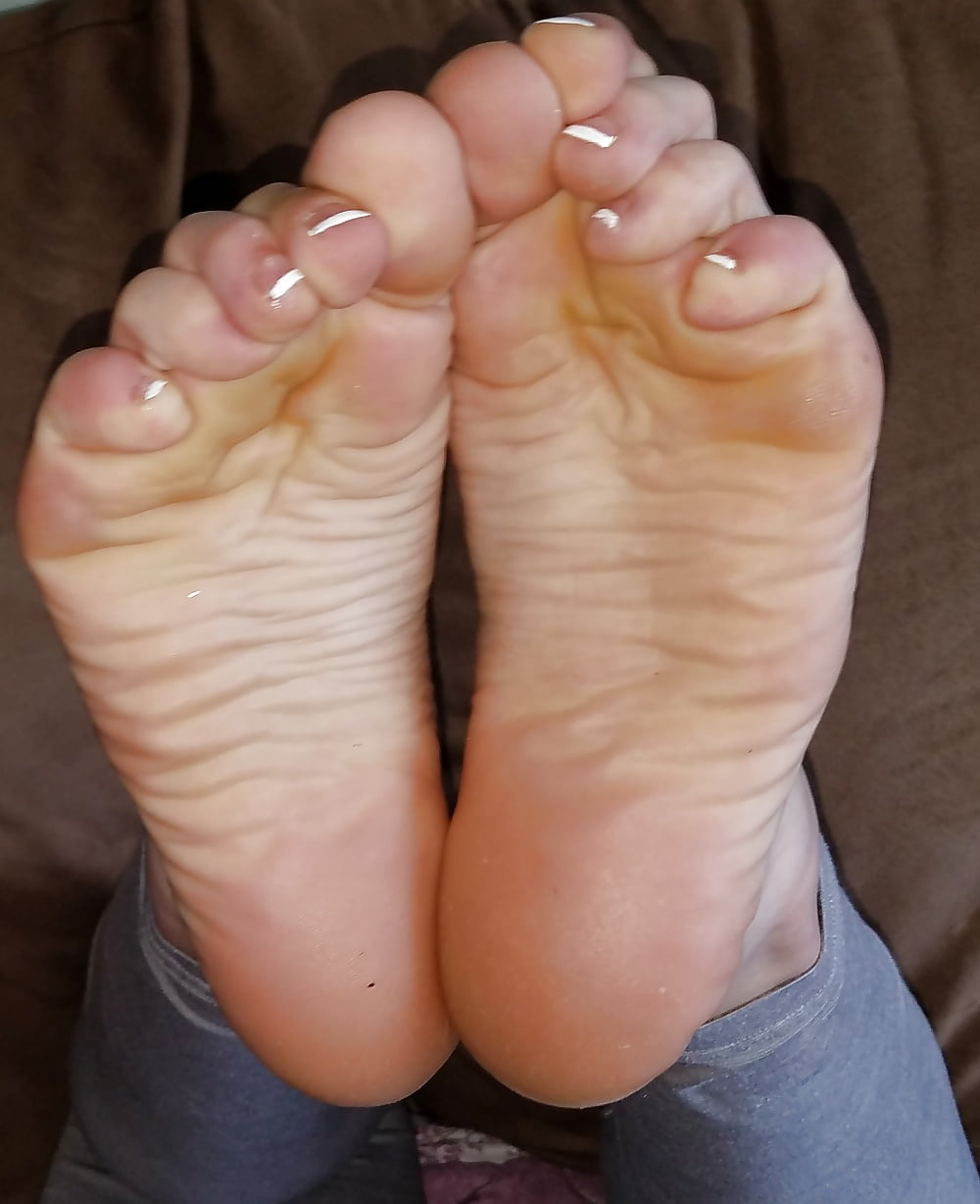 Beautiful feet with french pedicure