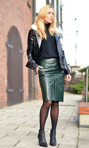 Green midi leather skirt