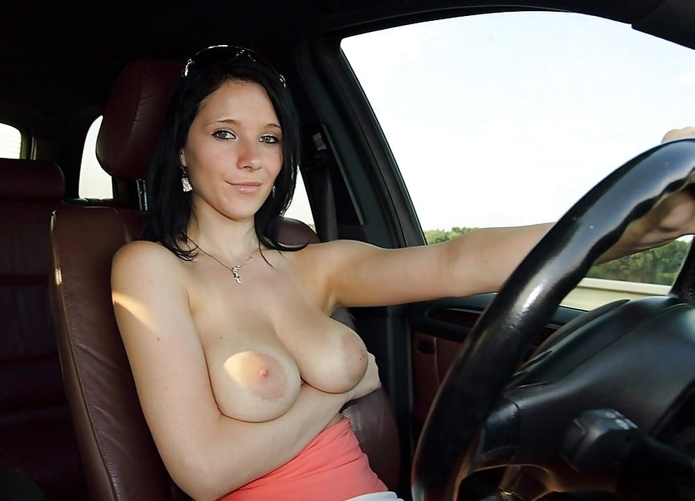 Female flashing tits