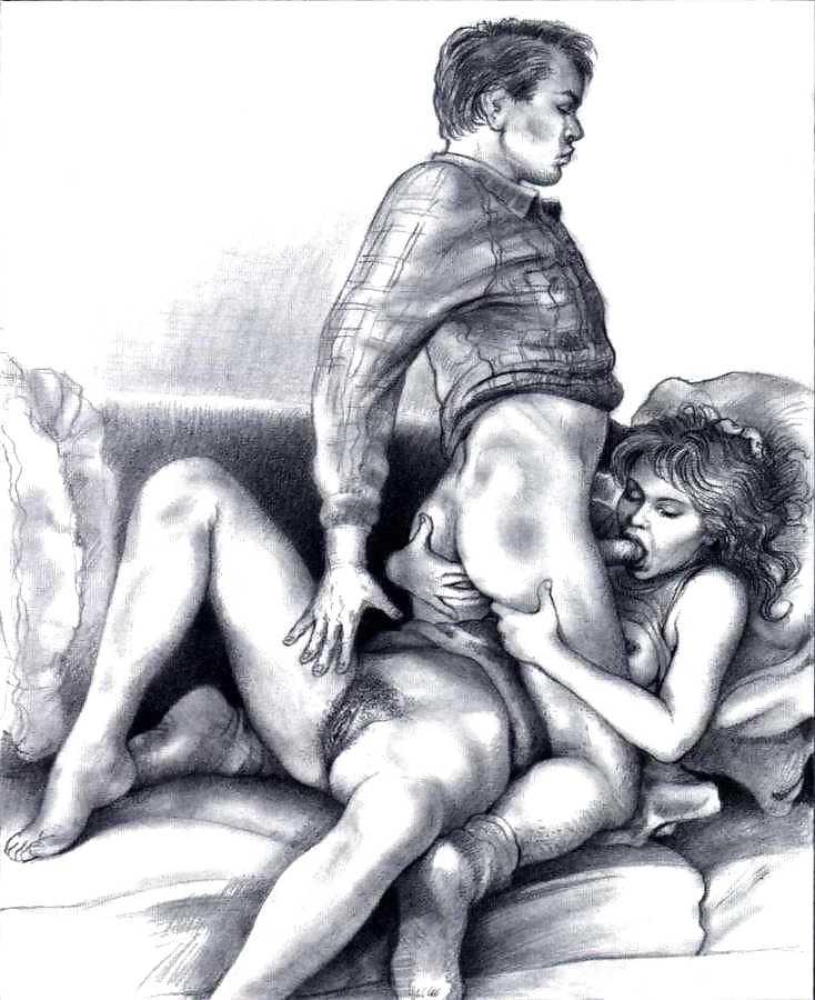 Порно рисунки на стенах, два массажиста трахают брюнетку