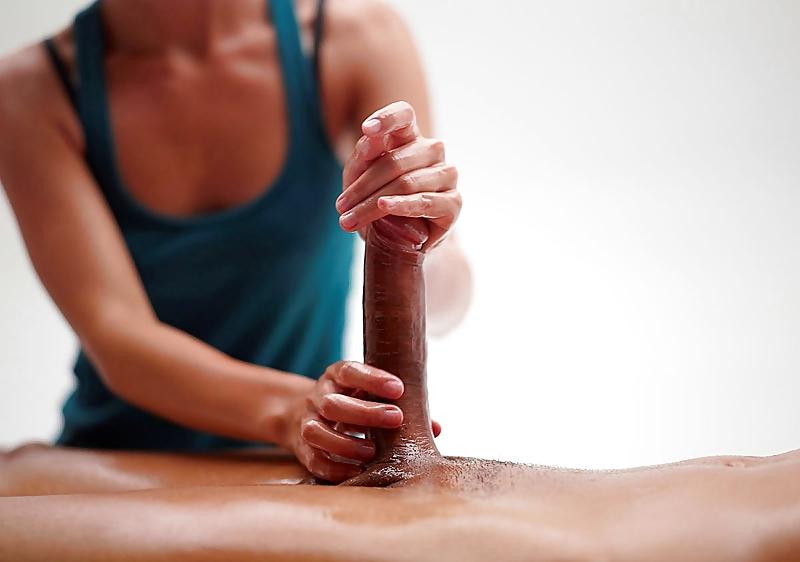 Adult men getting penis massage
