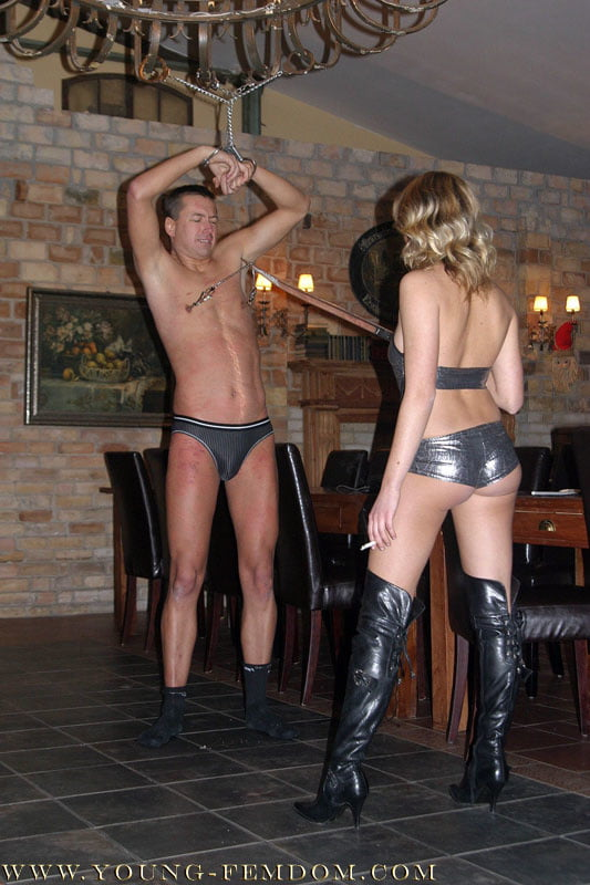 Sexy german Mistress Nadja have fun with german guy - 10 Pics