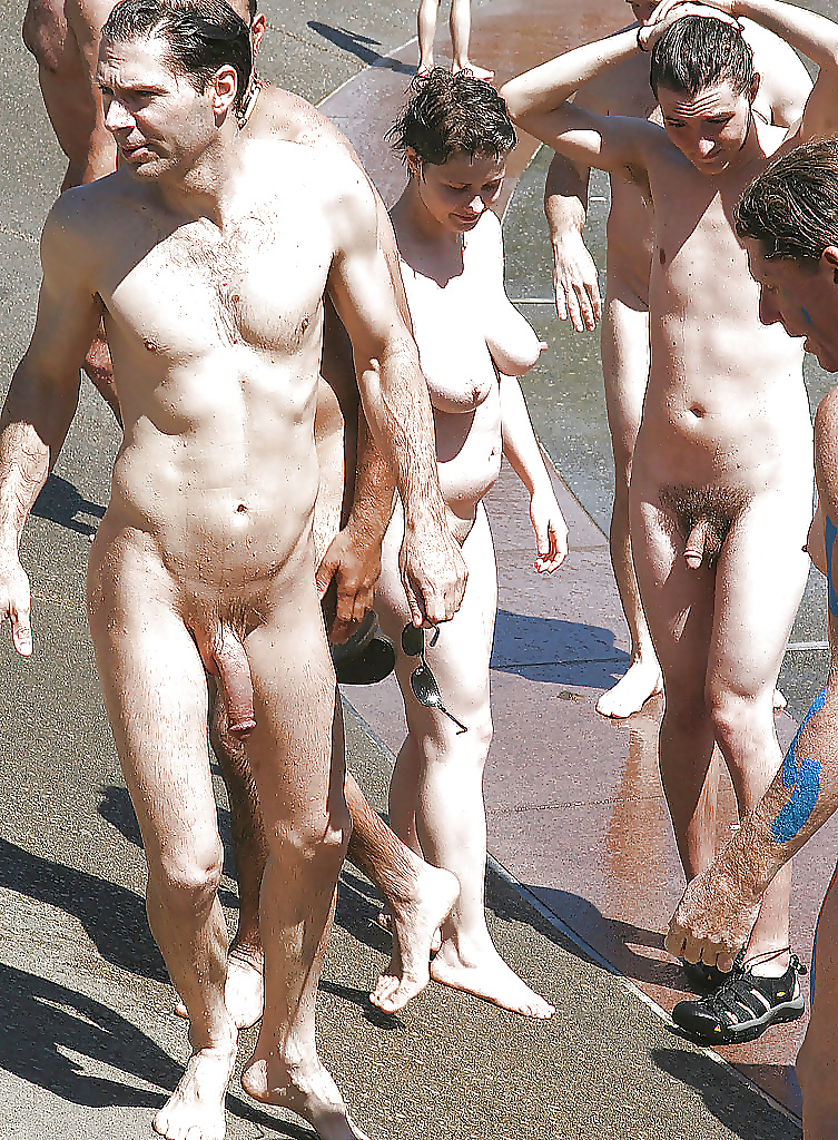 Nudists look