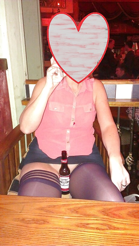 Sex Gallery Upskirt Stockings in Pub. Flashing Pussy in Public Bar