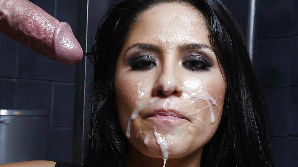 Horny woman mouth sex sperm on her face go here