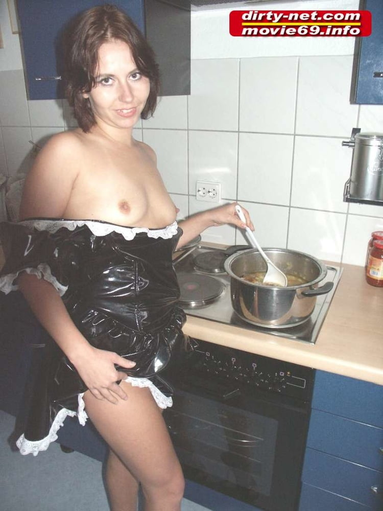 Teen Laura as a maid in the kichen