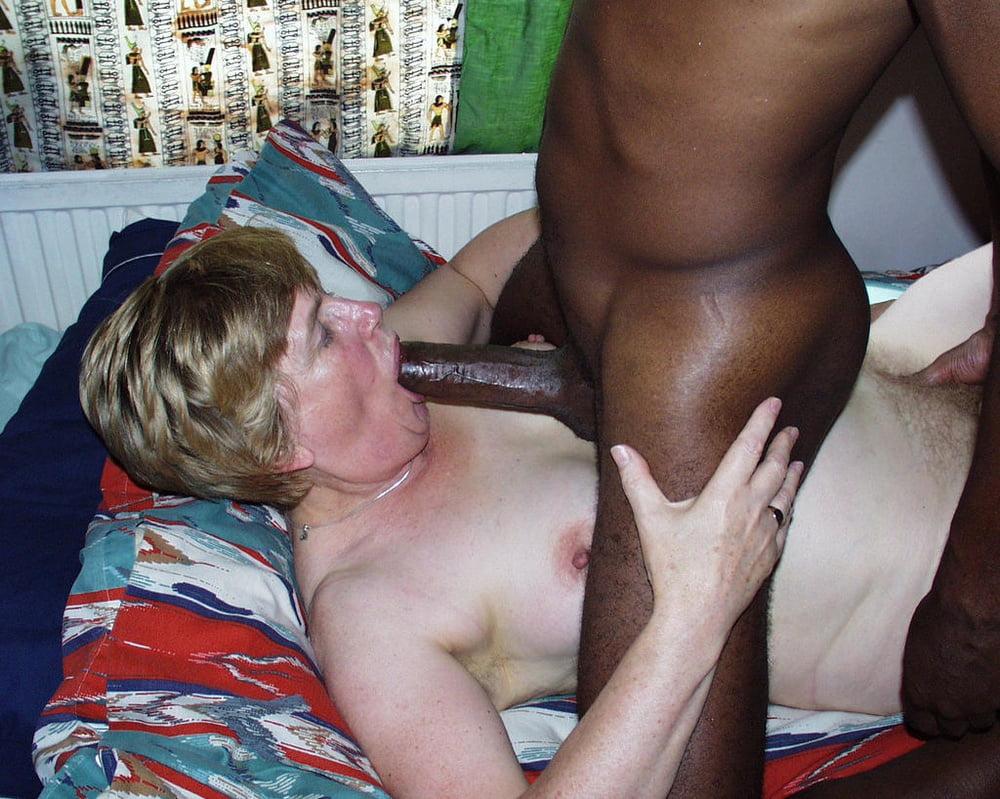 Grandma sucking black dick