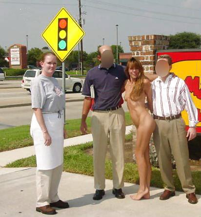 Amateur public exhibitionist brunette flashing voyeur