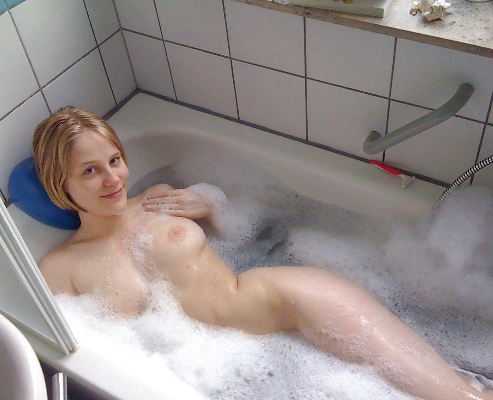 Girl playing herself bathroom