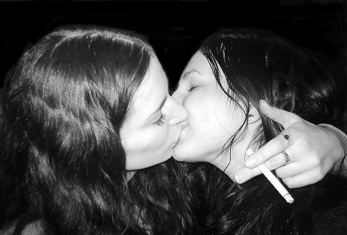 Smoking lesbian kiss