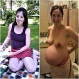 Schwangere frau nackt und angezogen