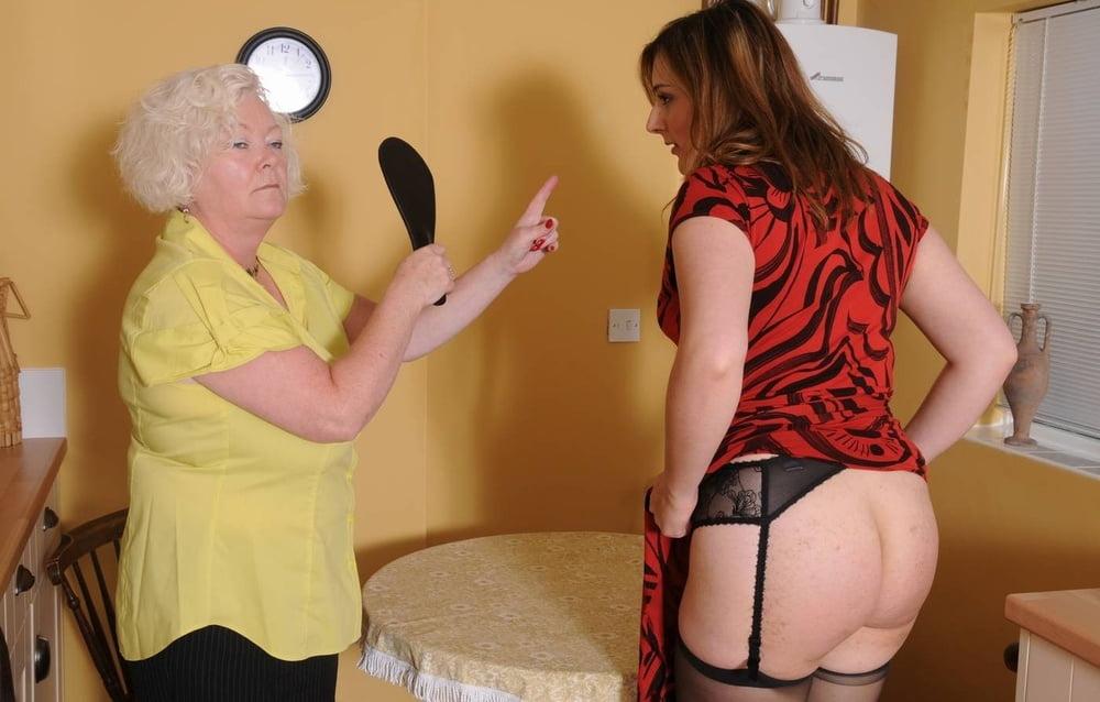 Granny lesbian spanking — 11