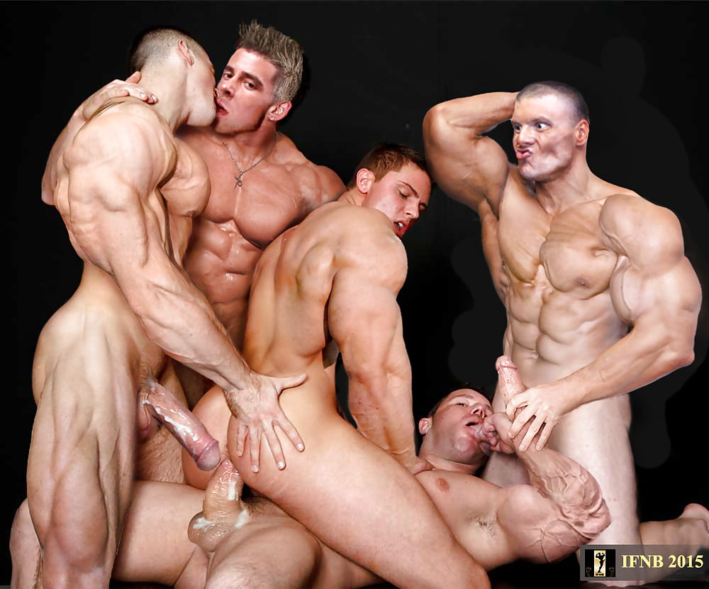 Muscular toned studs get together for a naked pool party that ends with them all cumming