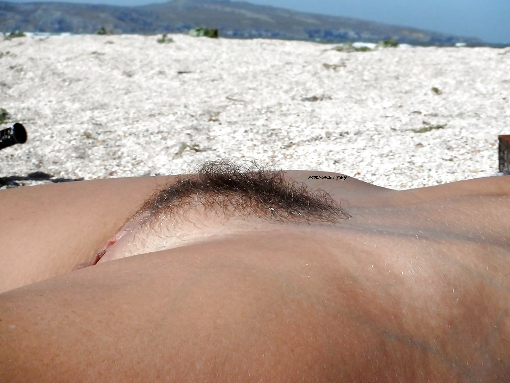 Hairy beach babe pussy — pic 8