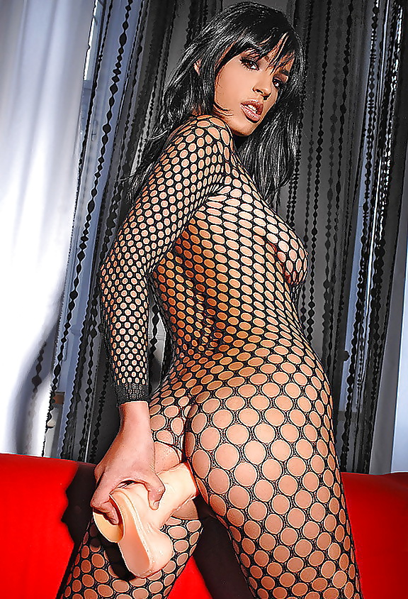 Hot brunette babe in fishnet stockings masturbate and come with dildo up the ass sexscene