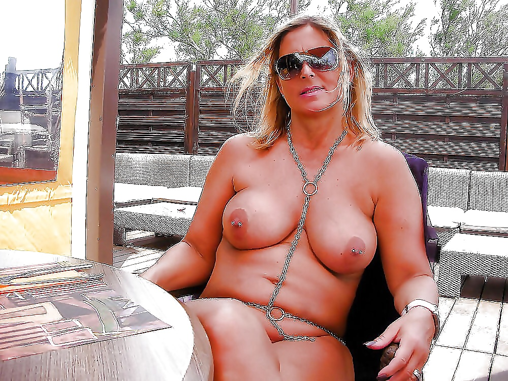 Naked milf on a chain