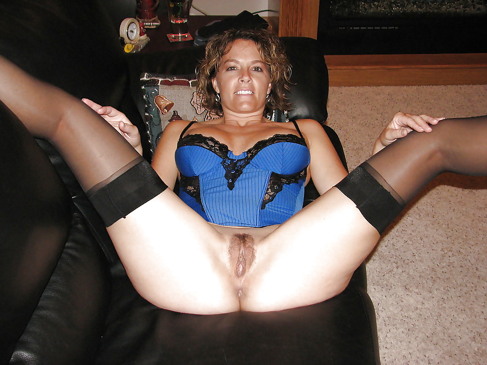 in stockings legs spread wide