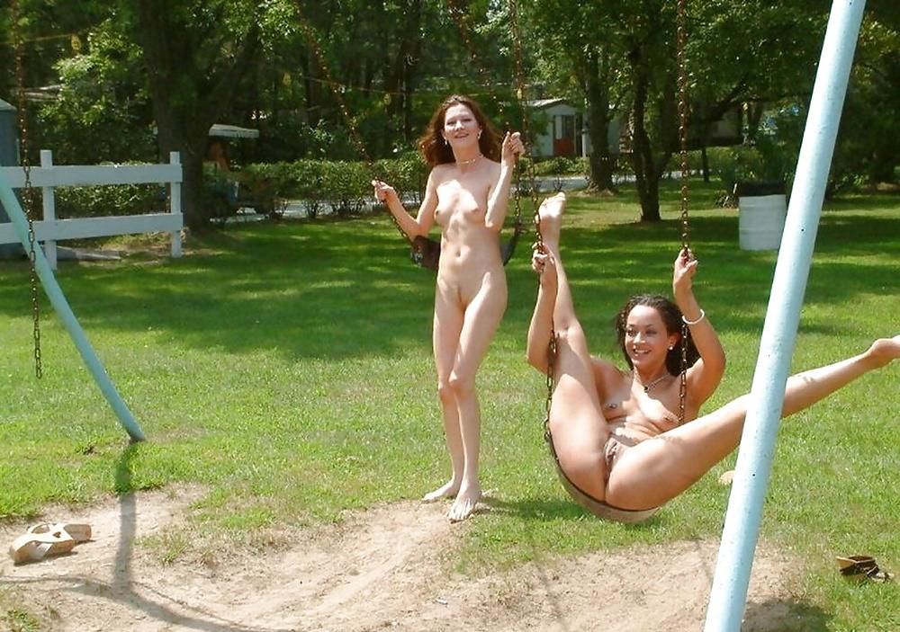 Kates playground showing pussy