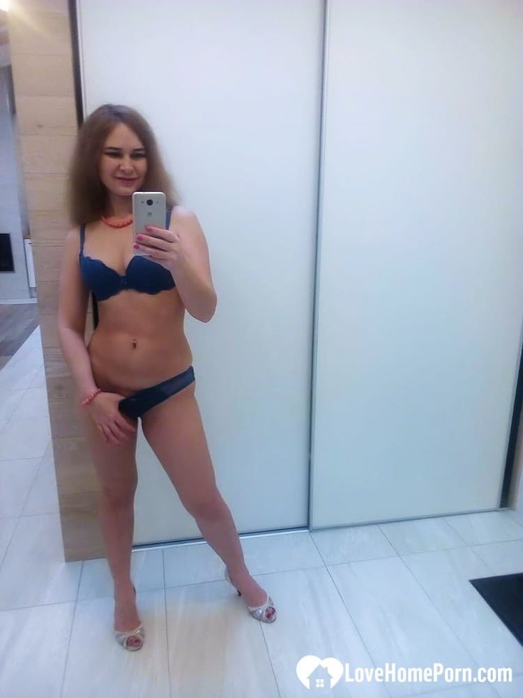 Taking selfies in my new blue lingerie - 39 Pics