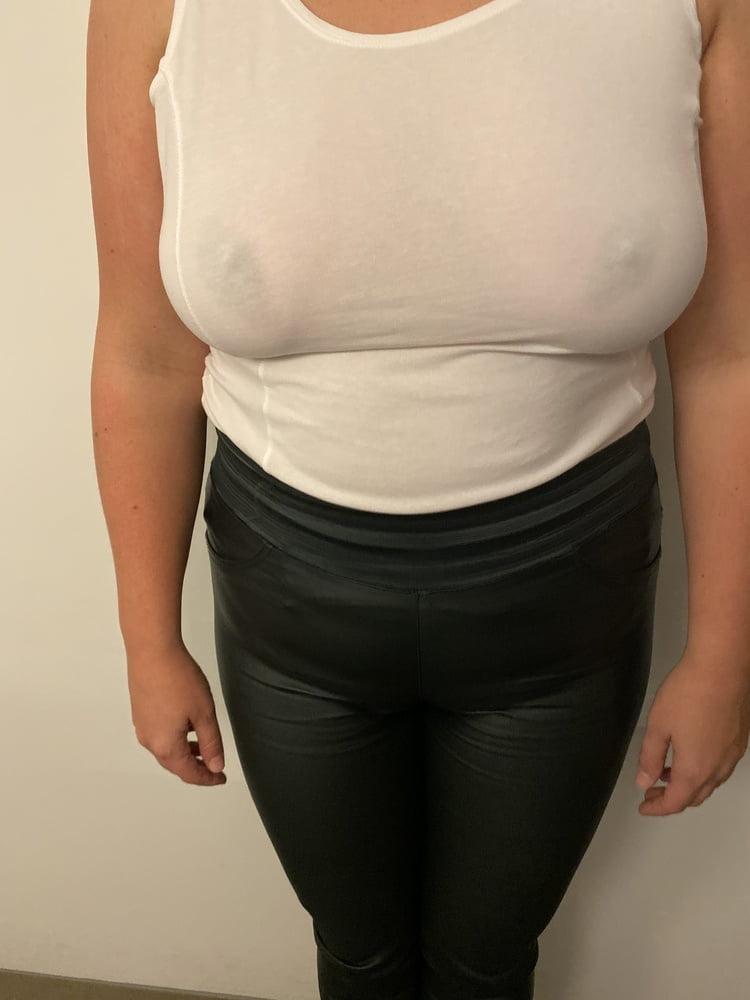 Big boobs white top