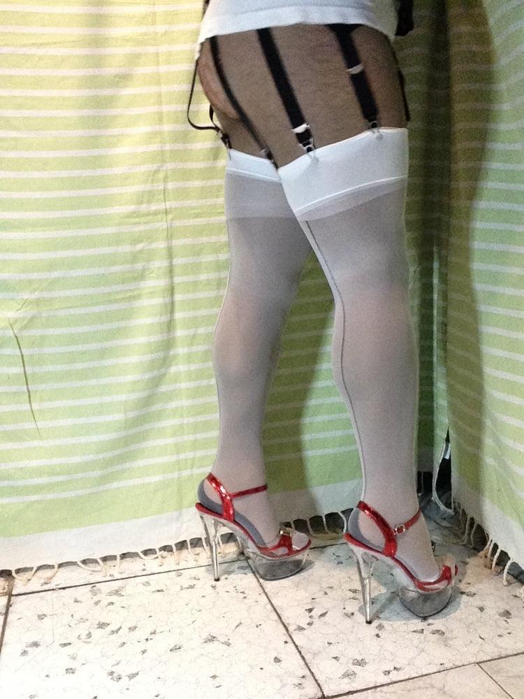 Red and white bikini top