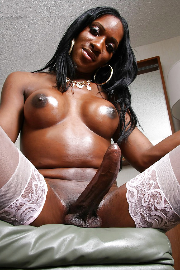 Black shemale with massive cock cums on webcam show