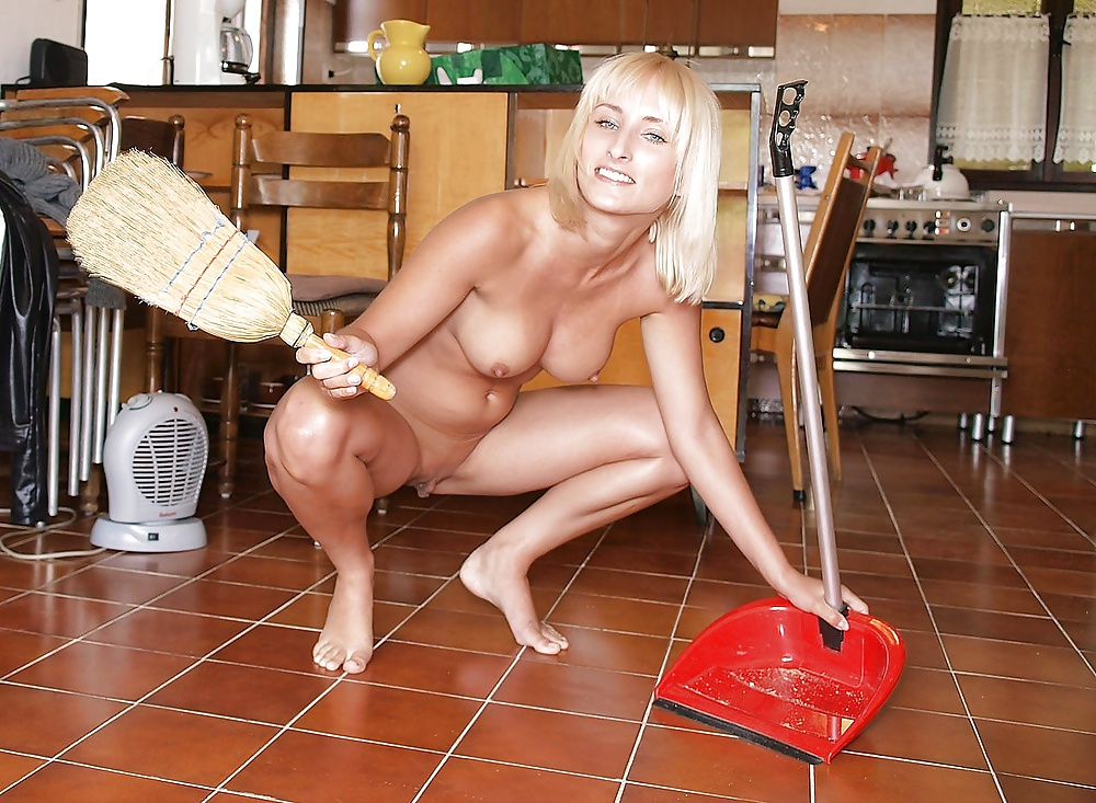 Horny Redhead Wife Cleaning Naked In The Kitchen