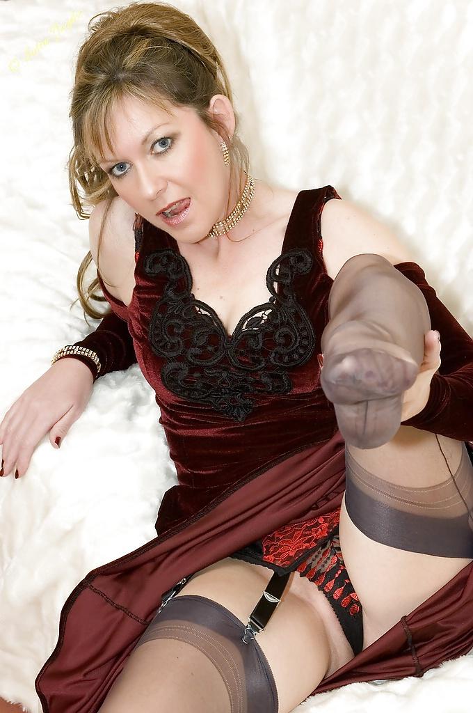 Masked gimp masturbates over hot milfs sexy nylon stockings - 3 part 3