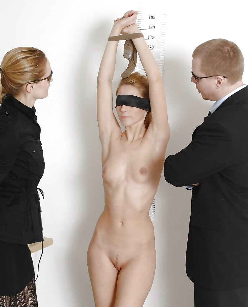 Hot ebony babe with pierced nipples is naked during a job interview and enjoying it