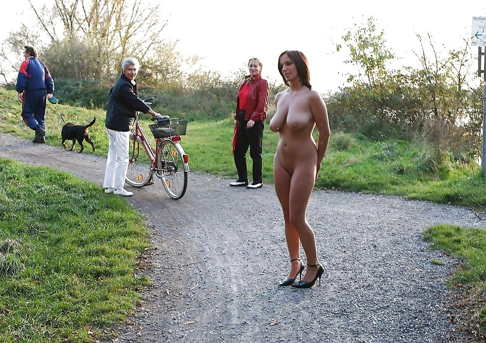 Outside wife topless on dare