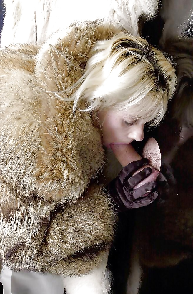 Outdoor blowjob in fur coat with big load on her face mouth with swallow