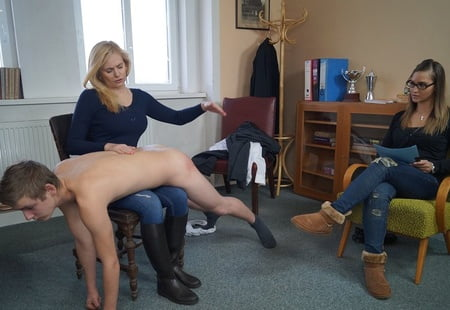 Humiliated spanked in front of wife