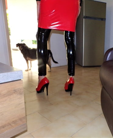 tight vinyule dress on me black and red