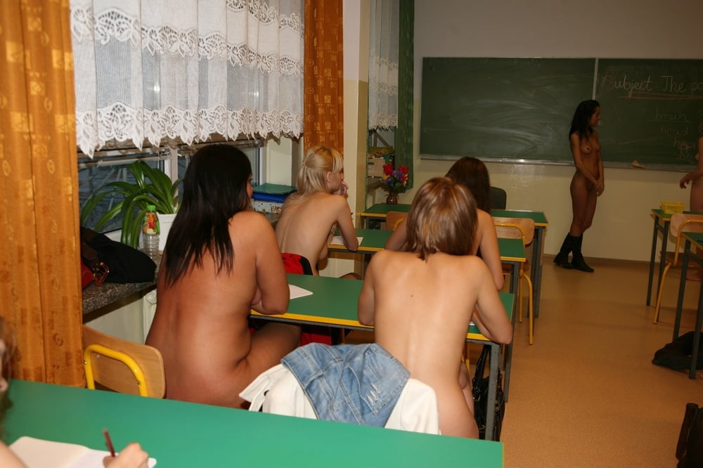 College girls going nude in classroom — photo 3