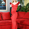 Nina Hartley Strips Her Long Red Dress