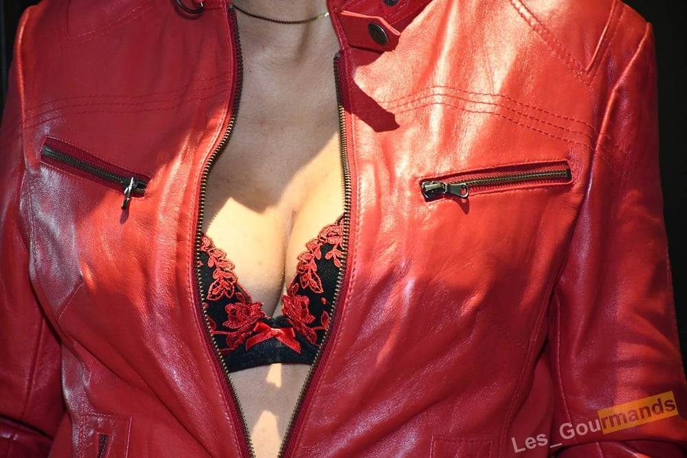 Red Leather Jacket - 13 Pics