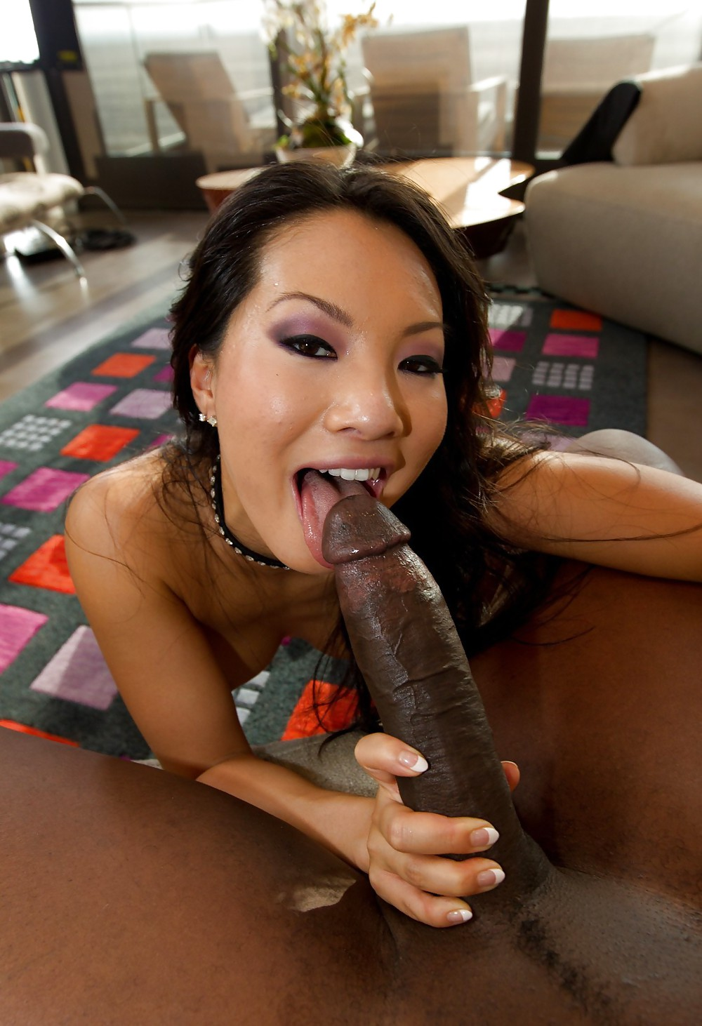 Asian girl takes a big cock
