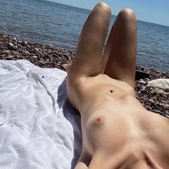 Nude Teen Babe Tanning On Beach