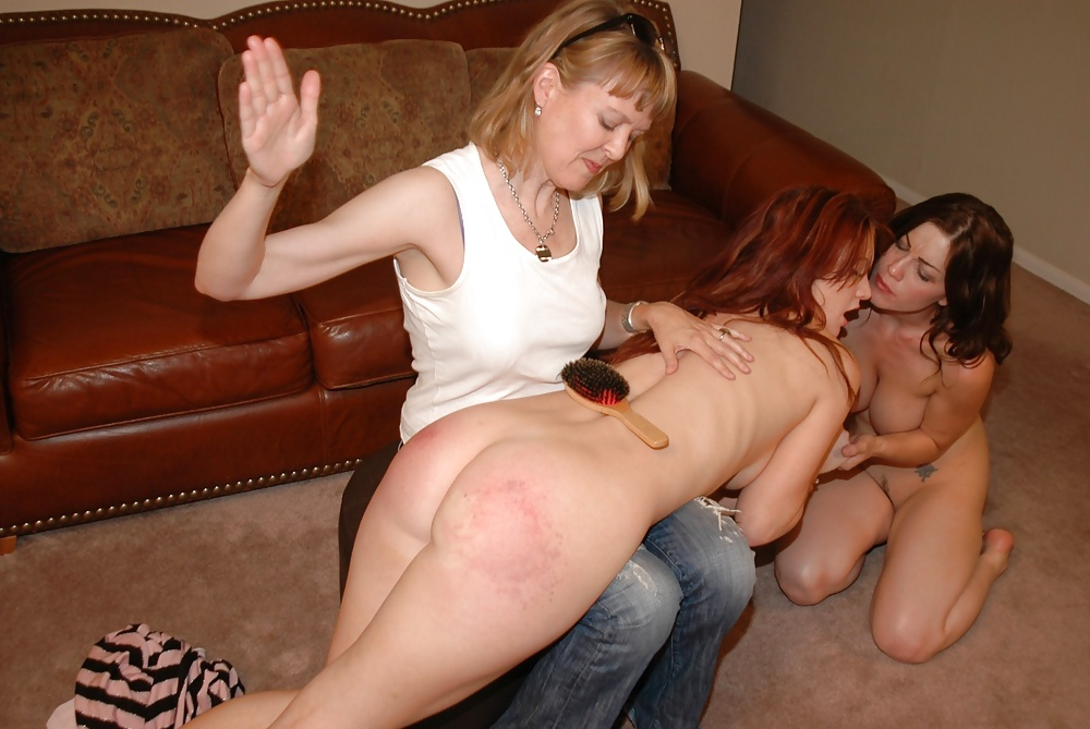 Crazy lesbians spank and slap each other