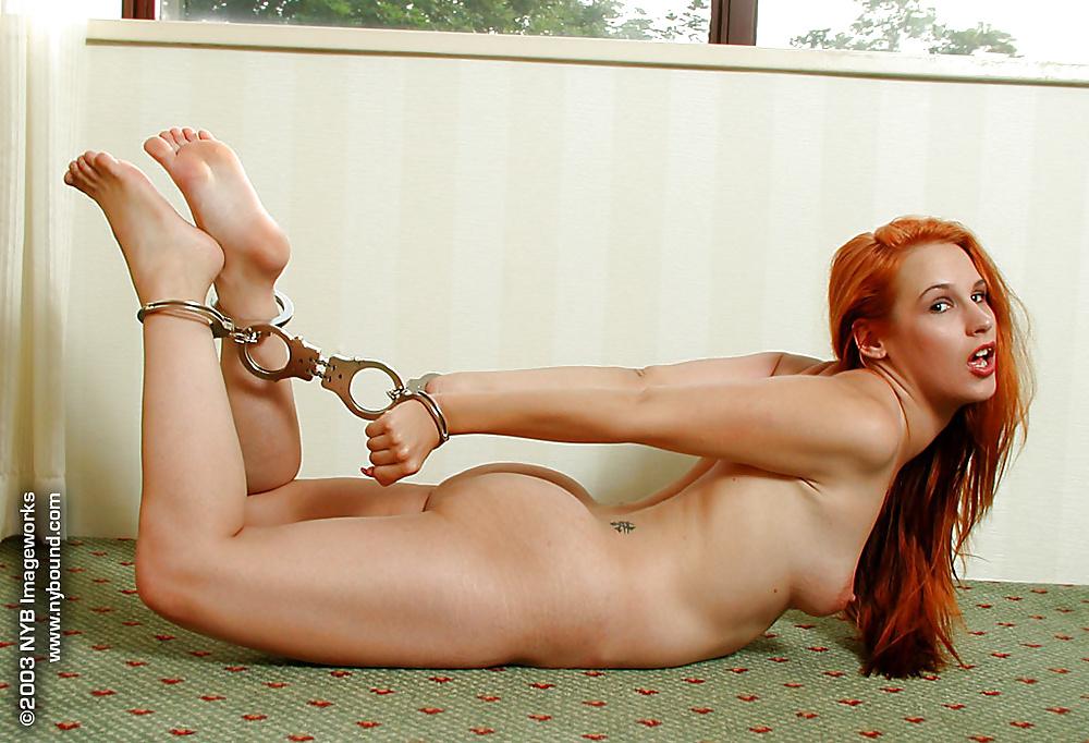 Portrait Beautiful Sexy Redhead Woman Biting Stock Photo