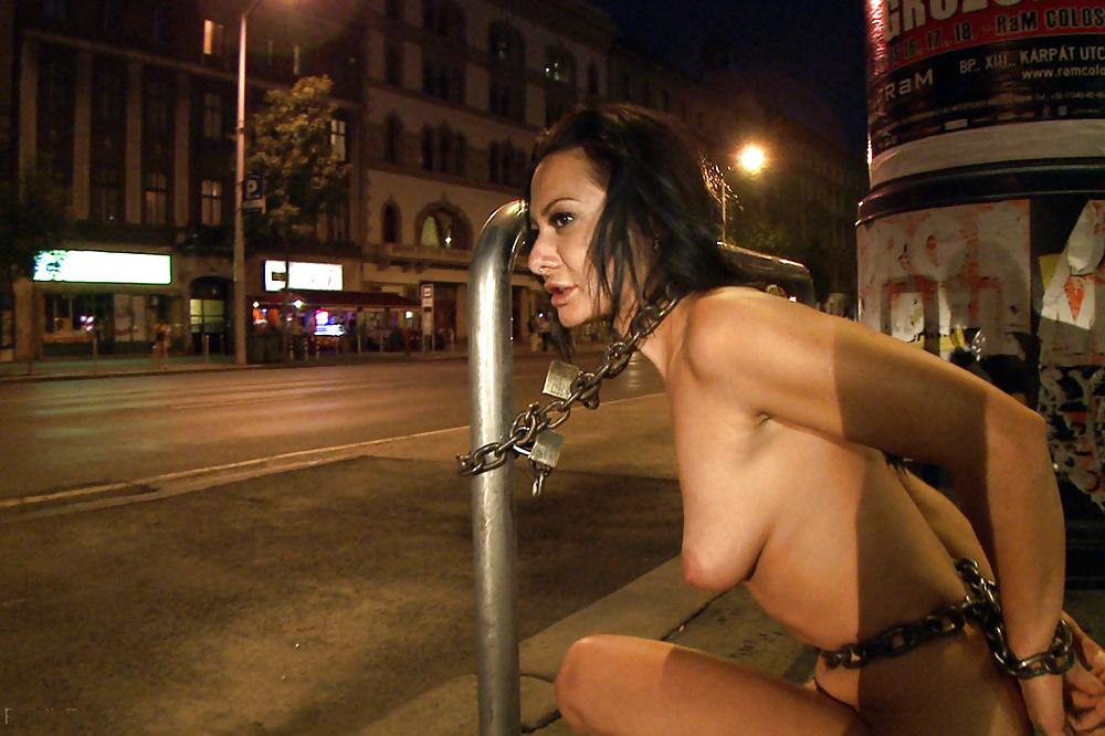 Bondage wives naked in public
