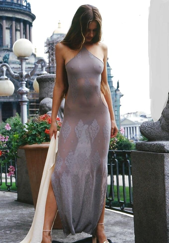 Milfs see through sheer dress