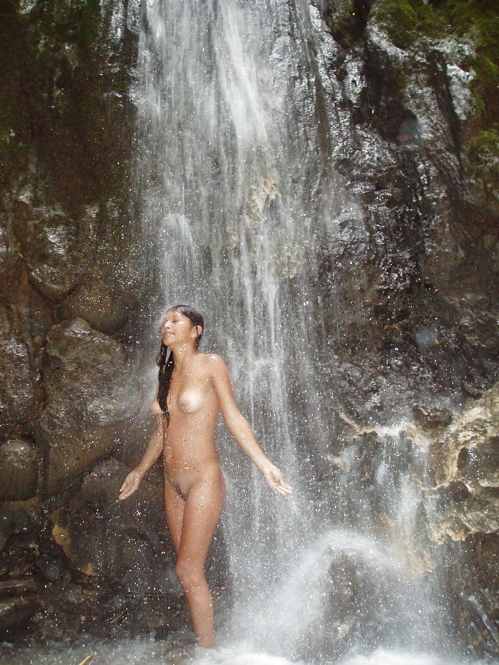 Beautiful Sexy Girl Under Waterfall Stock Photo