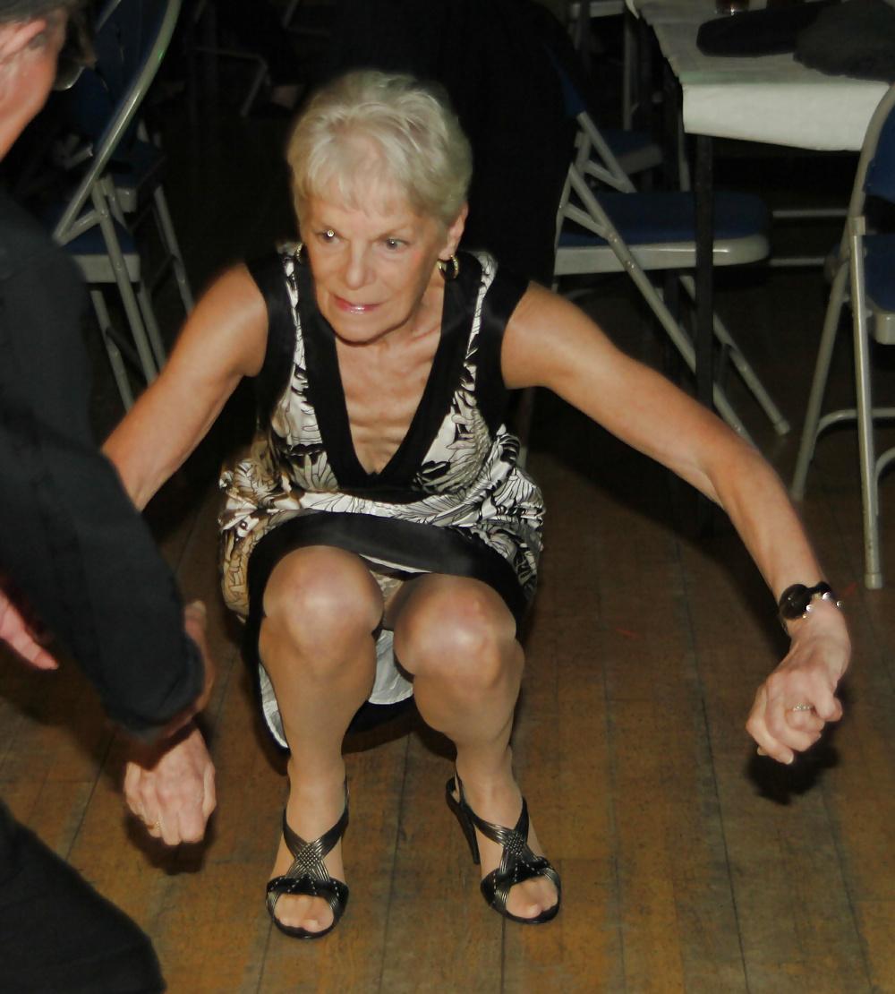 Granny upskirt pantyhose
