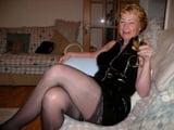 Cathy Slut Granny in a rubber skirt