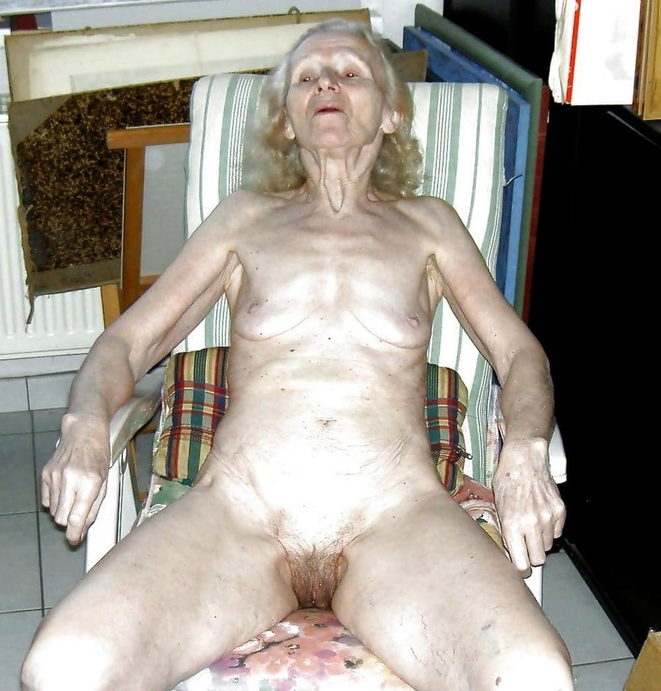 Naked elderly woman