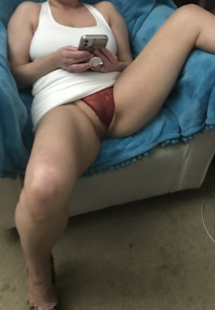 See my Sexy Red Panties & Hairy Pussy American Milf 19
