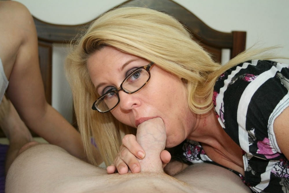Mommy cheers son up with a blowjob