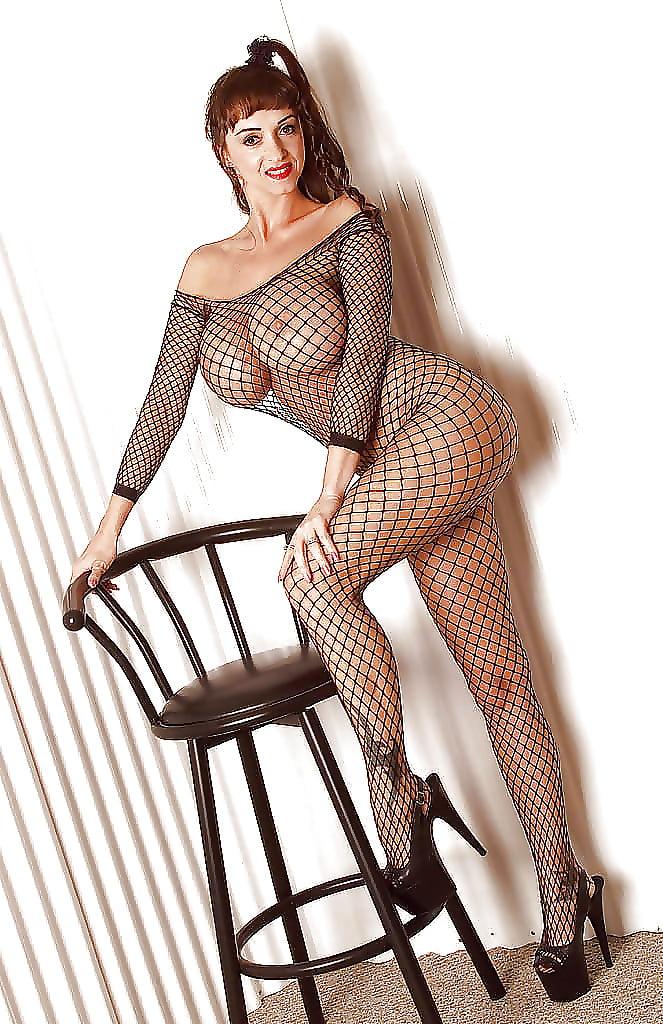 Short Haired Milf Katja Kassin Models Sexy Fishnet Bodystocking